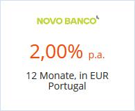 Novo Banco Festgeld mit 2,00% Zinsen bei 12 Monaten Laufzeit