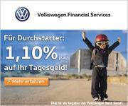 Volkswagen Bank Tagesgeld mit 1,10% Zinsen inkl. 4-monatiger Zinsgarantie für Neukunden
