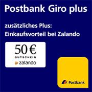 Postbank Giro plus Gehaltskonto mit 50€-Zalando-Gutschein