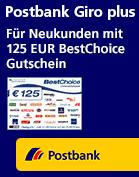 Postbank Aktion 125€ Bestchoice Gutschein