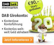 DAB Bank Girokonto mit 90€ Startguthaben für Neukunden