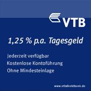 VTB Direktbank Tagesgeld für Neukunden mit bis zu 1,25% Zinsen p.a.