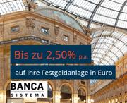 Banca Sistema Festgeld mit bis zu 2,50% Zinsen p.a. (nominal)