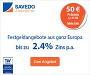 Savedo Kunden-werben-Kunden Aktion mit 50€ Prämie