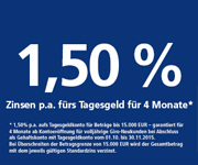 Aktion: Postbank Tagesgeld mit bis zu 1,50% Zinsen p.a.