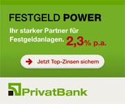 PrivatBank Festgeld mit bis zu 2,30% Zinsen p.a.